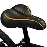 BLUEWIND Bike Seat, Most Comfortable Bicycle Seat Memory Foam Waterproof Bicycle Saddle - Dual Shock Absorbing - Best Stock Bicycle Seat Replacement for Mountain Bikes, Road Bikes (Orange)