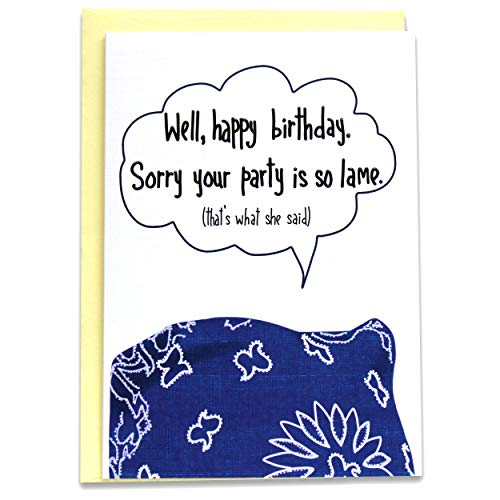 The Office Rude Happy Birthday Card - Michael Scott (Prison Mike Bandana Parody) Thats What She Said Quote Bday Gift