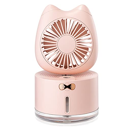Eficiente Ventilador Mesa,Ajustable Quiet Ventilador Oscilante Con Iluminación LED Para Oficina Hogar Dormitorios,Rosado,Cute