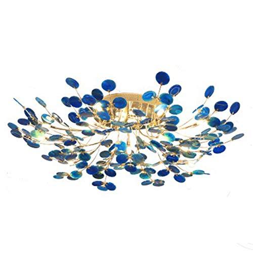 GSKJ Nórdico Luciérnaga Ágata Luz De Techo,Creativo Colorido Lámpara De Araña,G4 Montaje Empotrado De Hierro Lámpara De Techo,para para Sala De Estar Hotel-Azul 13 Luces