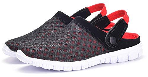 Zuecos Hombres Mujeres Unisex Zapatillas de Playa Sandalias Piscina Vernano Zapatos de Jardín Respirable Malla Casual Pantuflas - Rojo, 42 EU