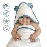 VABY – Babyhandtuch mit Kapuze, OEKO-TEX®, aus Baumwolle und Bambus, weiß/grau, Kinderhandtuch extra groß, Frottee Kapuzenhandtuch mit Ohren, Baby Handtuch für Neugeborene, Junge und Mädchen (Türkis)