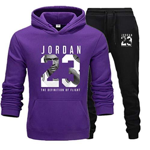 FSBYB Herren Michael Jordan Jerseys Chicago Bulls # 23 Anzug 2 Stück Anzug Basketball-Trikot-Hemd und Hose Set,Lila,XL