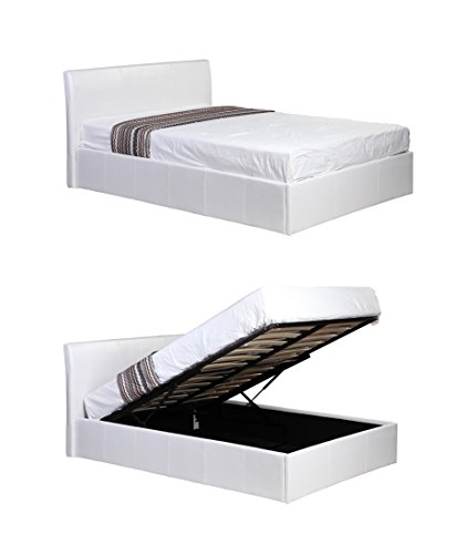3ft Single White Ottoman Lift Up Storage Faux Leather Bed - Also available in Black or Brown - Master Bedroom Childrens Bedroom Teens Bedroom Guest Bedroom - Perfect for storing Shoes DVD's Bedding Clothes