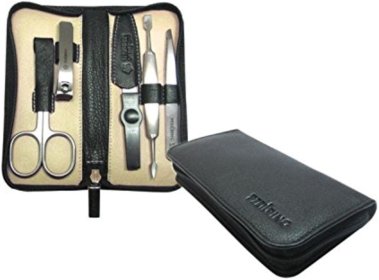 Pfeilring Manicure Case, Nappa leather, black, 5 pcs, INOXfilling