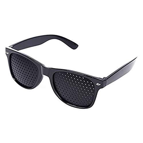 Lochbrille/Rasterbrille zum Augentraining und zur Entspannung, Gitterbrille mit klappbaren Bügeln, Style A, Farbe: Schwarz - von HeavySun