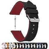 Fullmosa Bracelet de Montre 18mm 19mm 20mm 22mm 24mm,Bracelet Montre à Libération Rapide en Silicone Souple Caoutchouc,Noir Dessus+Rouge Dessous 22mm