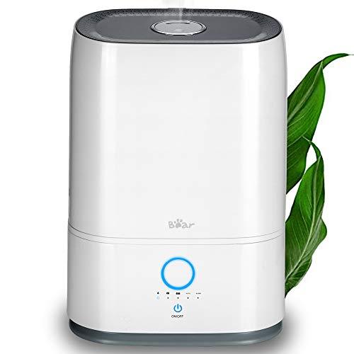 Humidifiers for Bedroom Bear 5L Cool Mist Humidifier with Whisper Quiet Operation Sleep Mode Max 41H Working 3 Mist Output Adjustable Auto Shut-Off Humidifiers for Plants with Essential Oil Tray White