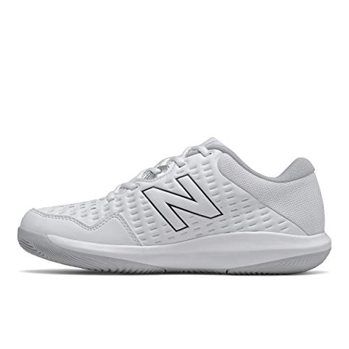 New Balance Women's 696 V4 Hard Court Tennis Shoe, White/Pigment, 7