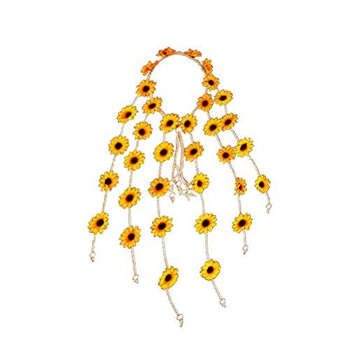Lurrose Diadema floral corona tocado boda nupcial girasol diadema tiara (amarillo)