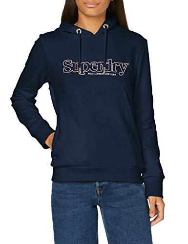 Superdry Damen Applique Serif Hood Kapuzenpullover, Blau (Richest Navy ZRN), M (Herstellergröße:12)