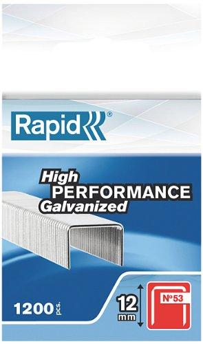 Rapid Agrafes en fil Fin N°53, Longueur 12mm, 1200 pièces, pour le Textile et la Décoration, fil Galvanisé, Haute Performance, 23809000
