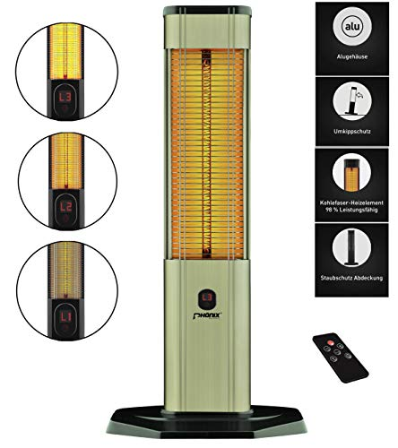 Phönix PHX-2000 infrarood carbon staande verwarming met afstandsbediening warmtestraler terrasverwarming | voor binnen | 2000 Watt | afdekhoes & thermostaat & 3 standen & timer | kleur: brons