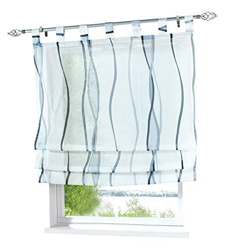 BAILEY JO Voile Raffrollo mit Wellen Druck Design Rollos Schlaufen Transparent Vorhang (BxH 100x140cm, grau)
