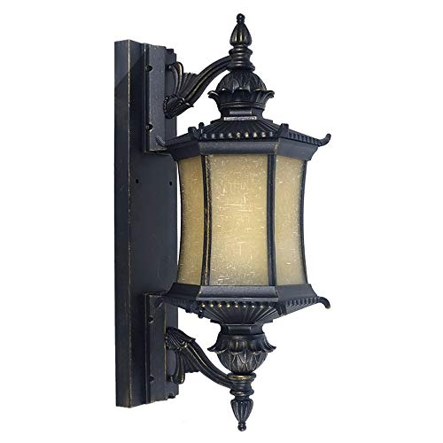 KMYX Antique Lampe Murale Country américain extérieur étanche IP55 Lanterne Mur décoration lumière extérieur Patio Porche Couloir Entrepôt Magasin Porte après l'éclairage du Chemin (Taille : H:64cm)