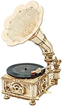 ROKR 3D Wooden Puzzle Hand Cranked Retro Phonograph Vintage Style Craft Model Kits Gramophone Antique Decoration for Home Best Gift for Children