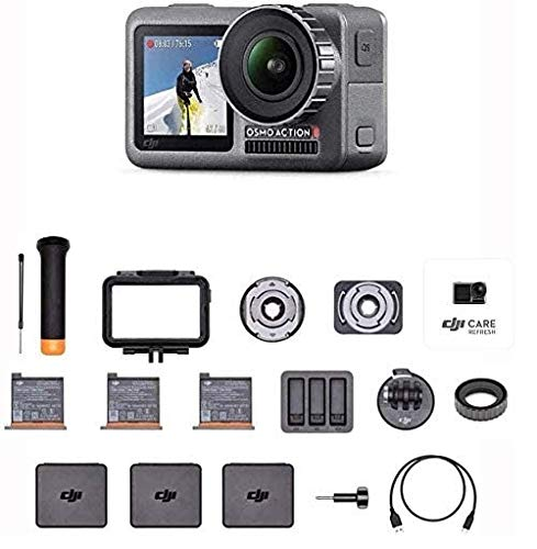 "DJI Osmo Action Prime Combo - Cámara Digital con Kit de Accesorios y Care Refresh, 12MP 1/2.3"" CMOS, Dos Pantallas, Impermeable hasta 11m, Estabilización Integrada, Foto y Video en 4K HDR - Negro"