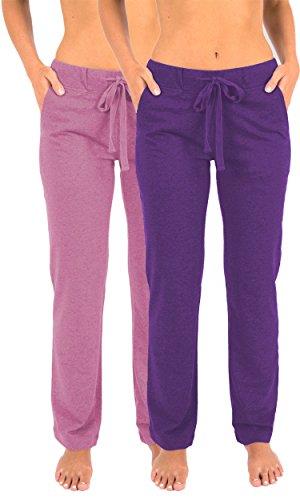 Sexy Basics Damen Lange Hosen mit Kordelzug aus französischer Frottee, 2 Stück - Pink - XX-Large