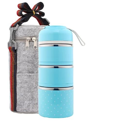LDDPP Caja de Almuerzo, Capas de Acero Inoxidable Cajas Bento Térmicas Apilables a Prueba de Fugas, con Bolsa de Almuerzo de Contenedor Isotérmico, para Adultos y Niños,3-Layer-Blue