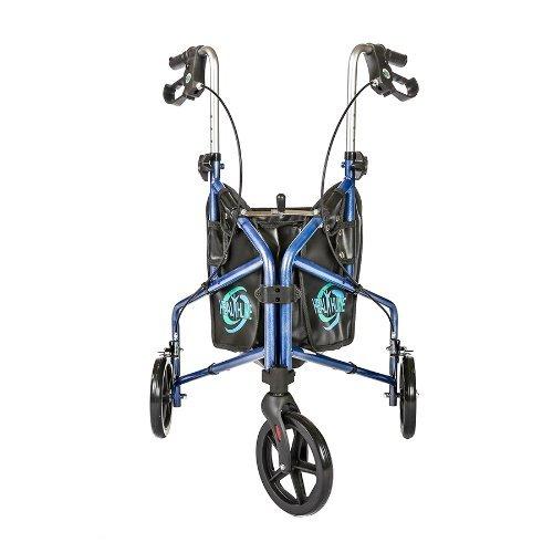 HEALTHLINE 3 Wheel Rollator Walker for Seniors, Foldable Lightweight Three Wheel Walker Traveler Mobility Rollator 3 Wheel Walker with Basket Tray, Pouch, Brakes, Narrow Walker for Small Spaces, Blue