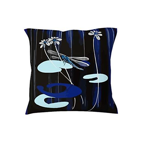 Dofeely Blue Libelle Theme Jersey kussensloop sierkussensloop voor haar- en huidverzorging 18 x 18 inch Multiple Colors & Multiple Styles