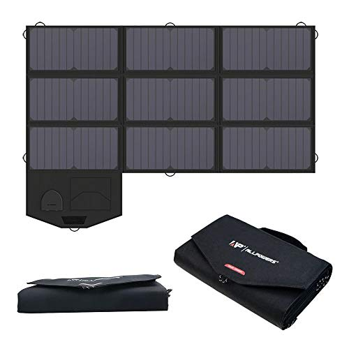 ALLPOWERS Solar Charger 18V 60W SunPower Solar Panel Foldable Charger with 5V USB 18V DC Output Portable Power Pack for Laptop, Notebook, Tablet, Phone, Car/Boat/RV Battery