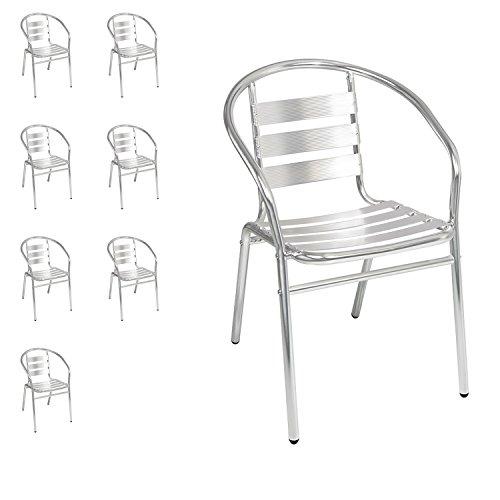 8 Stück Mojawo® stabile Aluminium Bistrostühle stapelbar Stapelstuhl Campingstuhl Gartenstuhl Küchenstuhl Alustuhl Balkonmöbel Gartensitzmöbel Silber