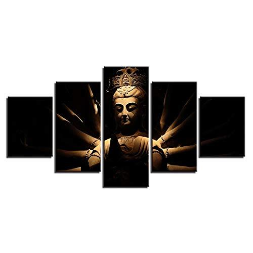 U-N Wall Decor Modular Canvas Print Pictures Home Decor 5 Pieces Lord Gautam Buddha Paintings Wall Art Hindu Goddess Poster Living Room Framed