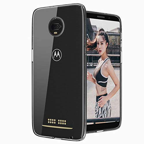 Moto Z3 Play Clear Silicone Case, Moto Z3 Case Slim Thin Flexible TPU Scratch Resistant Rubber Gel Soft Skin Shockproof Highly Transparent Protective Cases Cover for Motorola Z3 Play (Clear)