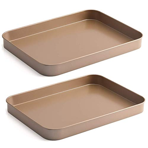 Falytemow Nonstick Bakeware Small Cookie Trays Baking Sheet for Oven Non Toxic and Healthy Rust Free and Easy Clean Gold Set of 2
