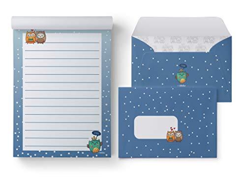 Eulen-Briefpapier-Set für Kinder: 25 Blatt Format DIN A5, liniert + 10 Briefumschläge (Mädchen od. Jungen, blau, orange, grün)