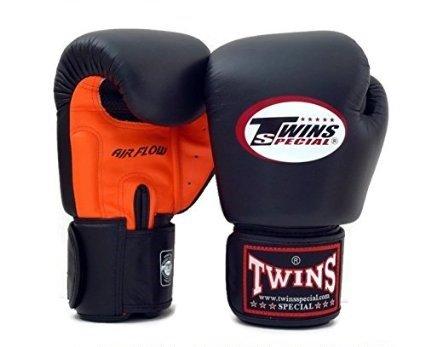 Twins Boxhandschuhe AIR FLOW 100% Rindsleder Farbe schwarz und orange 14oz