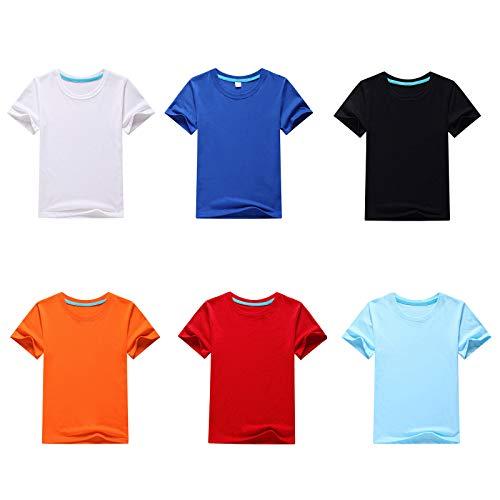 NCONCO 6pcs Algodón T- Camisa Manga Corta Cuello Redondo Camisas Diario