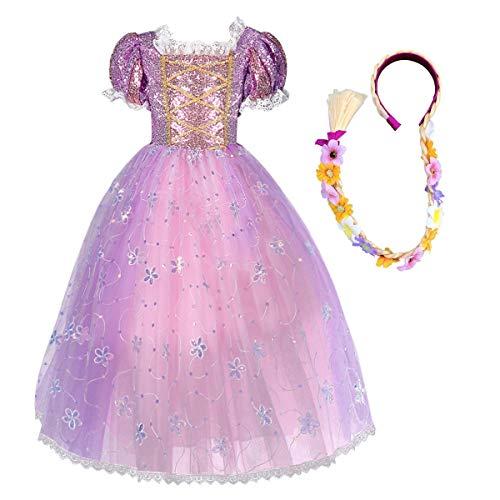 MYRISAM Vestidos de Princesa Sofia para Nias Disfraz de Carnaval Traje de Halloween Navidad Cumpleaos Fiesta Ceremonia Aniversario Cosplay Vestir con Peluca de Pelo de Rapunzel 11-12 aos