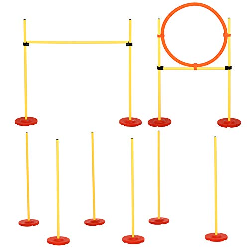 PawHut 3PCs Portable Pet Agility Training Obstacle Set for Dogs w/Adjustable Weave Pole, Jumping...