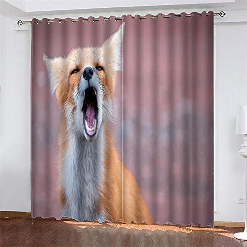 UYSDJH Cortinas Aislantes Opaca Ojales Zorro Rojo Animal 150x166 cm Bedding para Moderno Cuarto Habitacion Infantil Comedor Salon Dormitorio Cocina Habitación Decorativo Ventanas