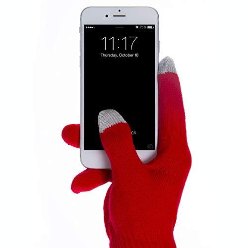Terryshop74 Guanti Gloves Touch Screen per Usare i Guanti con Il Vostro Telefono Cellulare Misura Unica Guanto Capacitivo (Rosso)