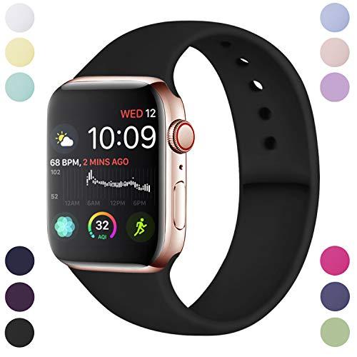 Preisvergleich Produktbild Hamile Armband Kompatibel für Apple Watch 42mm 44mm,  Weiche Silikon Wasserdicht Ersatz Uhrenarmbänder für Apple Watch Series 5,  Series 4,  Series 3,  Series 2,  Series 1,  S / M Schwarz