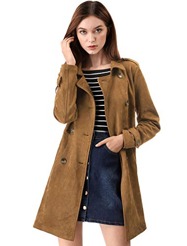 Allegra K Women's Faux Suede Double Breasted Button Trench Coat Jacket with Belt L Brown