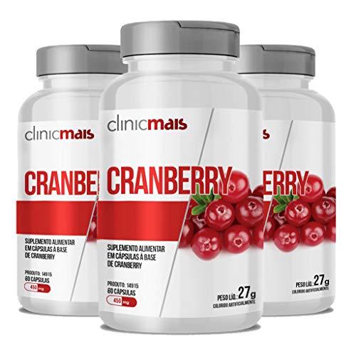 Kit 3 Cranberry 450mg ClinicMais 60 cápsulas