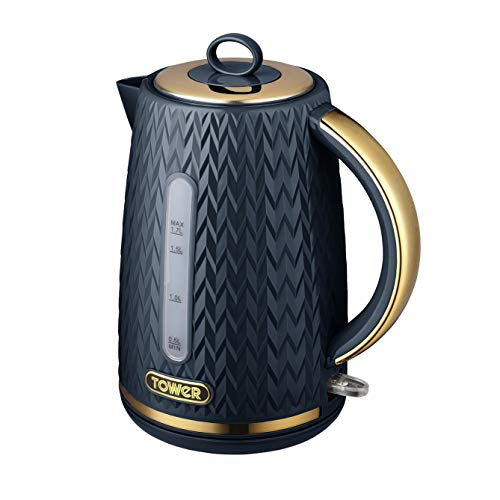Tower T10052MNB Empire 1.7 Litre Kettle with Rapid Boil, Removable Filter, 3000 W, Midnight Blue with Brass Accents