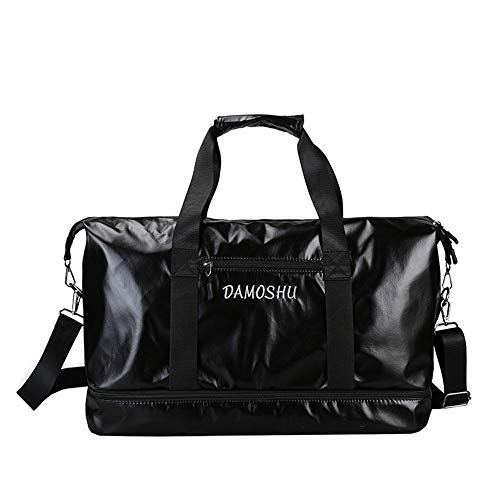 JWIL Sports Duffels Yoga Outdoor Walking Swimming Waterproof Men And Women PU Gym Bag Leisure Sports Travel Hand Luggage Bag for Yoga Swim (Color : Silver, Size : Free size)