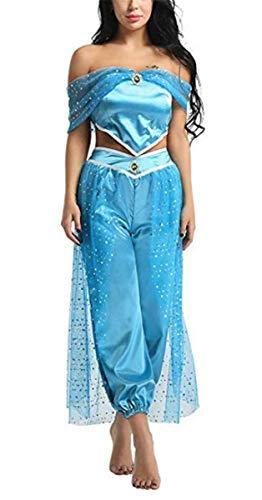 EMIN Prinzessin Jasmine Kostüm Erwachsene Damen Verkleidung Schick Party Kleider Halloween Karneval Cosplay Geburtstag Ankleiden Kleidung Pailletten Klassisch Prinzessin Ankleiden Kostüm Outfit 2Pcs
