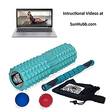 SunHubb Foam Roller Set Kit Includes High Density Foam Roller,Muscle Roller Stick,Lacrosse & Spiky Balls & Carrying Bag-Physical Therapy,Deep Tissue,Pain Relief,Myofascial Release,Self Massage Yoga