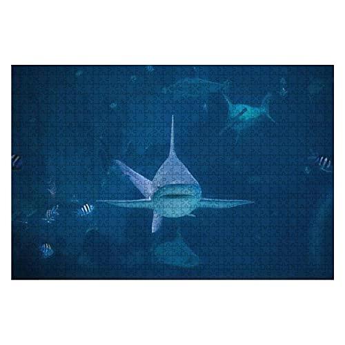 1000 Stück Ein Silberspitzen-Hai, der in Richtung Kamera im Aquarium in Sentosa schwimmt Großes Stück Puzzles für Erwachsene Lernspielzeug für Kinder Kreative Spiele Unterhaltung Holzpuzzles Home Deco