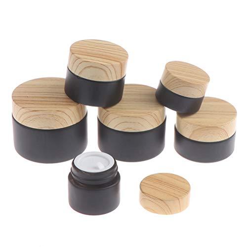 RUIYELE Leere nachfüllbare Gläser, 5 g/10 g/15 g/20 g/30 g/50 g, Milchglas-Flasche mit Holzmaserung, Kosmetikbehälter, Glascreme-Box für Make-up, Lotion, Gesicht, Augencreme, Lippenbalsam