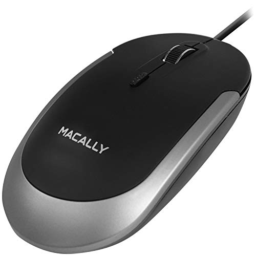 Macally Silent Wired Mouse - Slim & Compact USB Mouse for Apple Mac or Windows PC Laptop/Desktop - Designed with Optical Sensor & DPI Switch - Simple & Comfortable Wired Computer Mouse (Space Gray)