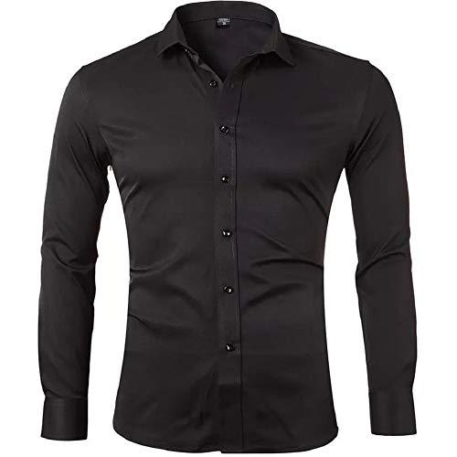 Gdtime Chemise pour Homme sans Repassage Manches Longues Slim Fit Uni Chemises Casual Infroissable Noir,S