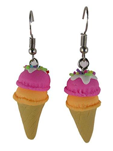 Ohrringe Ohrhänger Hänger handgemacht Eis Waffel Aprikose Erdbeere Sommer Eisdiele Cafe 7606