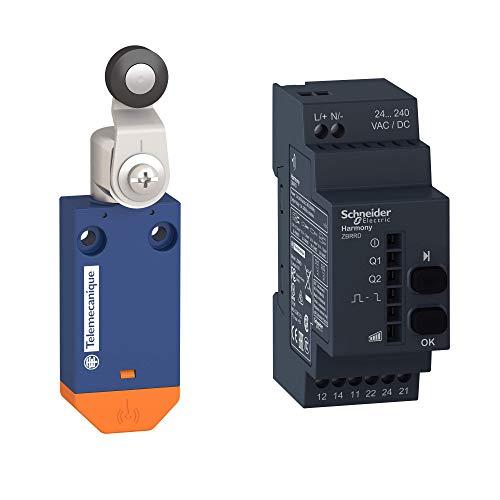 Telemecanique Sensor OsiSense XC Standard Interruptor de límite inalámbrico XCMW - Pack de XCMW115 + receptor 2 relés XCMWD15